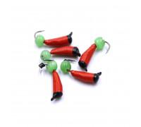 Мормышка Yaman Ручейник №3, d-1.5 мм, L-8.5 мм, вес 0,45 гр., фц. зеленый шар, цв. красный