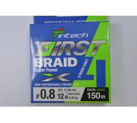 Шнур Intech First Braid PE X4 150 м. #0,8 0.148 мм. 5,45 кг.