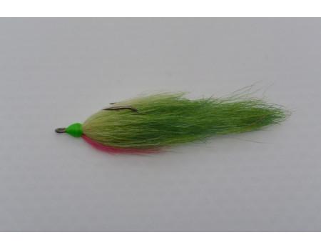 Стриммер SerChem 2 вязки зелено-красный крючек 2/0 90 мм.