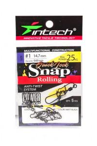 Карабин Intech с вертлюгом Quick Lock Snap Rolling Matt black № 1 25 кг.