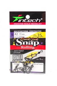 Карабин Intech с вертлюгом Quick Lock Snap Rolling Matt black № 2 35 кг.