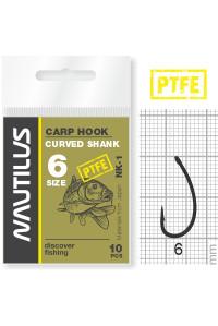 Крючок Nautilus Carp Curved Shank NK-1PTFE № 6